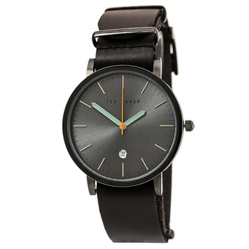 Ted Baker 10026444 Men's Ensorr Quartz Brown Leather Strap Grey Sunray Dial Date Watch