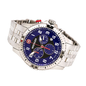 Wenger 77060 Men's Squadron Steel Bracelet Swiss Quartz Chronograph Blue Dial Date Watch