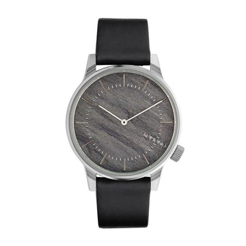 Komono Men's Strap Watch - Winston Ash Grey Dial Black Leather | KOM-W3015
