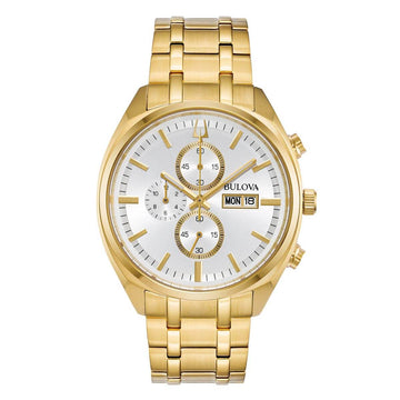 Bulova Men's Chronograph Watch - Classic Silver Dial Yellow Steel Bracelet | 97C109