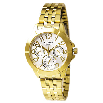 Citizen Women's Yellow Steel Bracelet Watch - Quartz Silver Dial | ED8102-56A