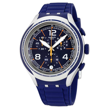 Swatch YYS4015 Men's Xlite Blue Face Chrono Blue Dial Blue Silicone Strap Watch
