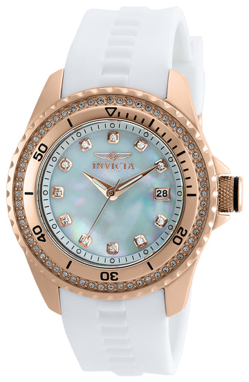 Invicta 21381 Women's Wildflower White MOP Dial White Silicone Strap Crystal Watch