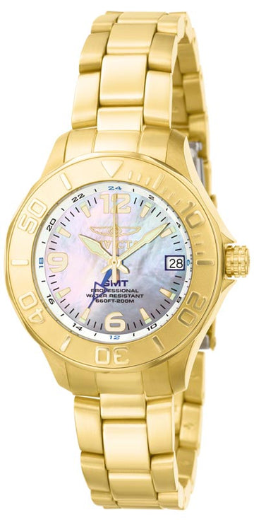 Invicta 6891 Women's Pro Diver MOP Dial Yellow Gold Steel Bracelet GMT Dive Watch