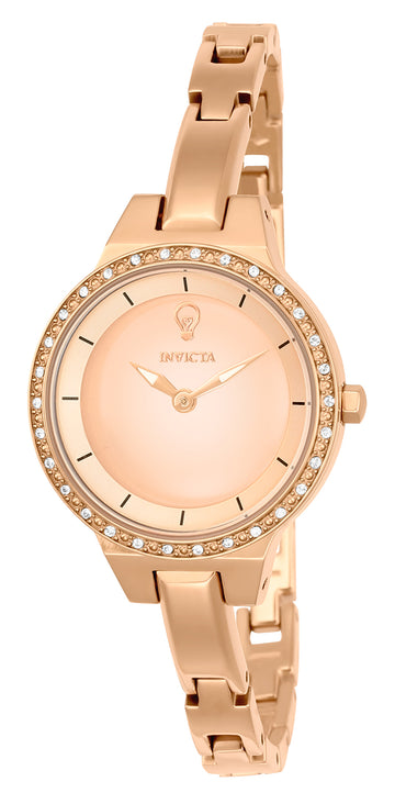 Invicta 23331 Women's Rose Gold Bangle Bracelet Gabrielle Union Crystal Rose Gold Dial Watch Set