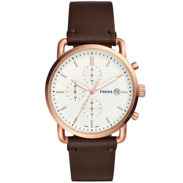 Fossil Men S Chronograph Watch The Commuter White Dial Brown Leather Strap Fs5476
