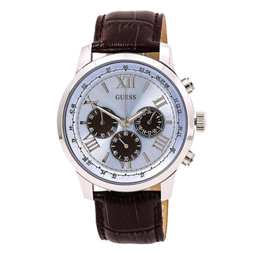 Guess U0380G6 Men's Brown Leather Band Quartz Iconic Signature Chrono Blue Dial Watch