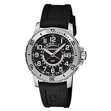 Wenger 01.1342.101 Men's Off Road Swiss GMT Black Silicone Strap Black Dial Date Watch