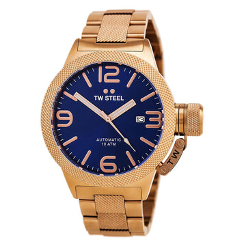 TW Steel CB185 Men's Canteen Bracelet Blue Dial Automatic Rose Gold Steel Watch