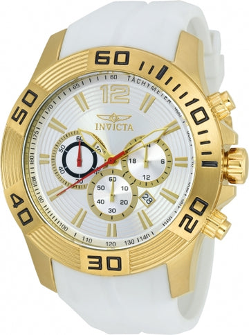Invicta 20298 Men's Pro Diver Silver Dial Yellow Gold Steel White Silicone Strap Chronograph Watch