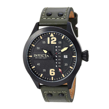 Invicta Men's Strap Watch - I-Force Quartz Black Dial Dark Green Leather | 22187