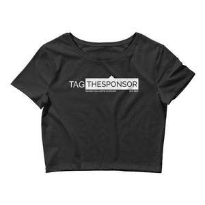 TagTheSponsor Official Logo (White)  Women's Crop Tee