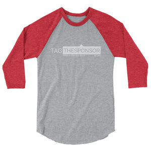 TagTheSponsor Official Logo (White)  (Multiple Colors) 3/4 sleeve raglan Jersey