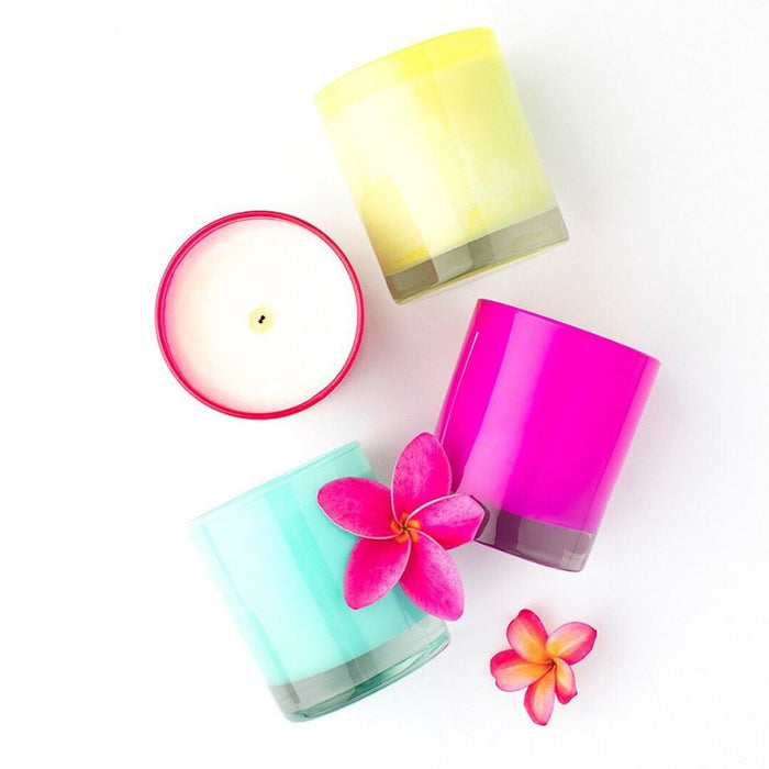 Soy wax candle in coloured glass