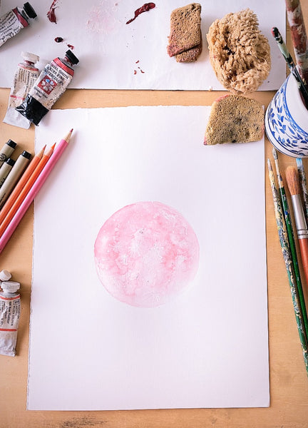 Pink Supermoon Painting