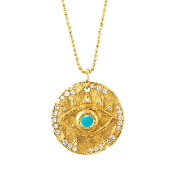 18k Turquoise Eye of Protection Coin Pendant