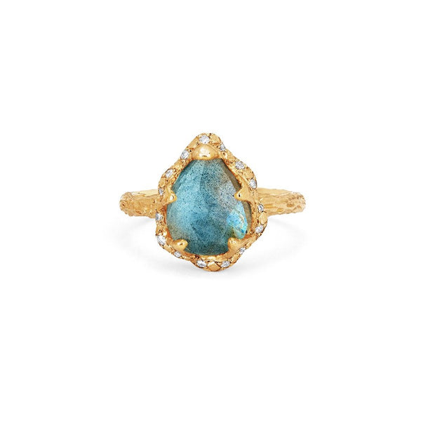 Baby Queen Water Drop Labradorite Ring with Sprinkled Diamonds