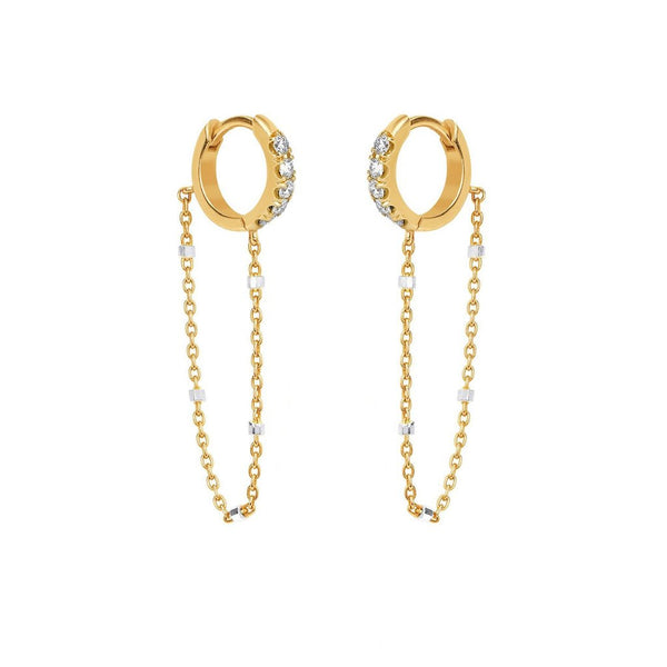 Diamond Mini Goddess Chain Earrings