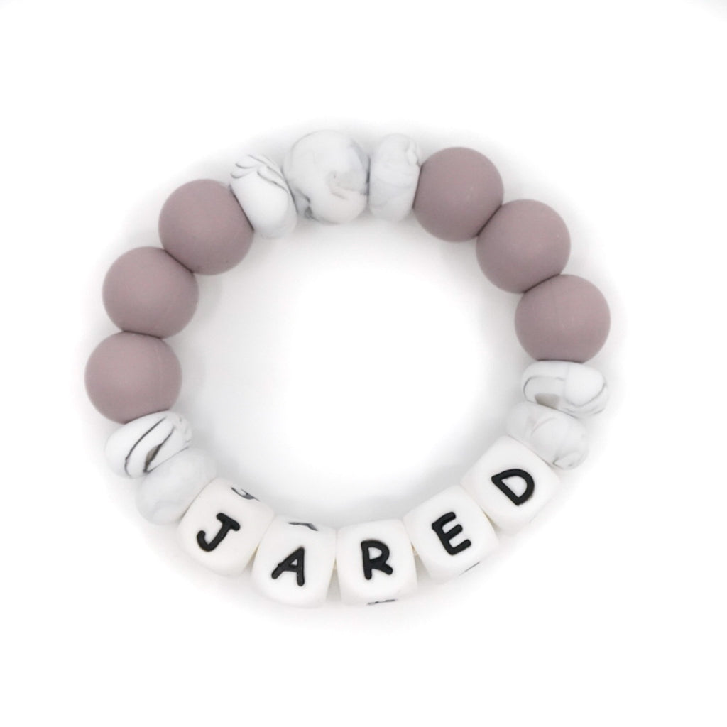 Personalized silicone bead ring teether