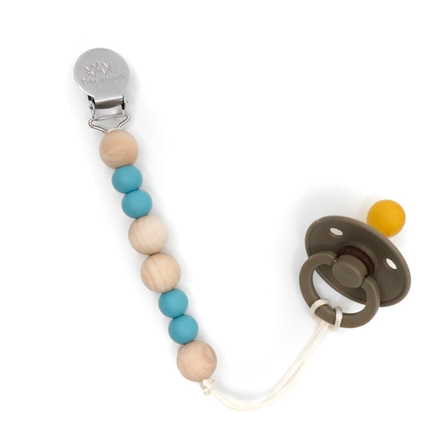 Blue and maple wood pacifier clip