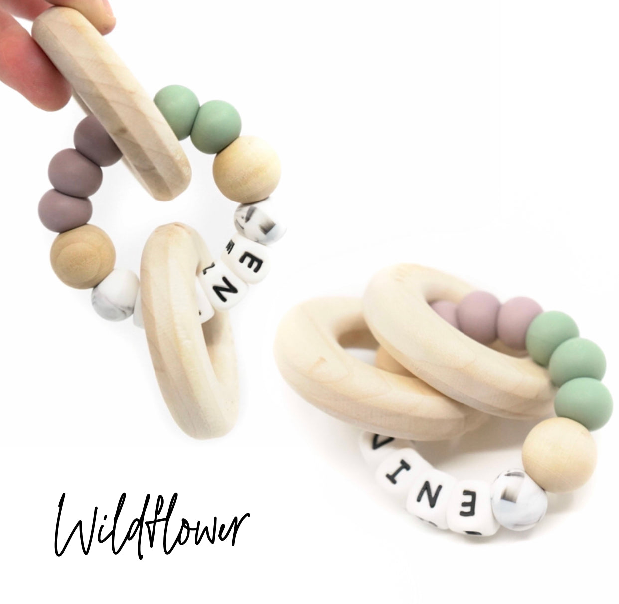 Personalized Wood and Silicone Teether - Wildflower