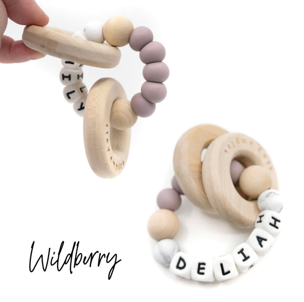 Personalized Wood and Silicone Teether - Wildberry