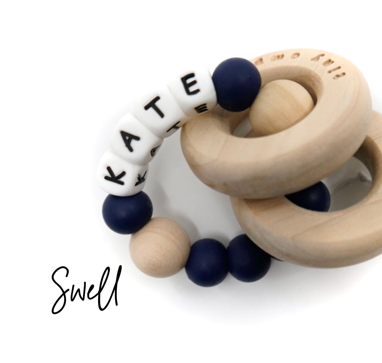 Personalized Wood and Silicone Teether - Swell