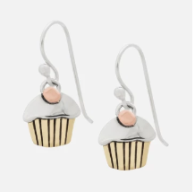 Far Fetched Sterling Silver Cupcake Dangle Earring
