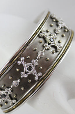 Antiqued Sterling Silver and 18K Yellow Gold Bangle Bracelet with Diamond and Black Diamonds