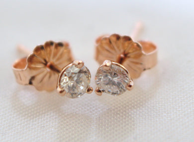14K Rose Gold Diamond Stud Earrings 0.32ct