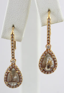 14K Rose Gold Rough Cut Diamond Centers and Side Diamonds Lever Back Drop Earrings
