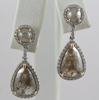 14K White Gold Settings with 14K Rose Gold Prongs Set Rough Cut Diamond Centers and Side Diamonds Post Drop Earrings