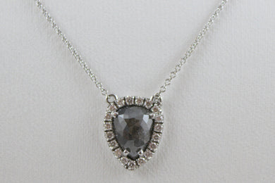 14K White Gold Rough Cut Center Diamond with Diamond Halo Pendant with 16
