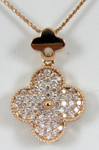 18K Rose Gold Quatrefoil Diamond Pendant on Diamond Cut Superflex Rose Gold Chain.