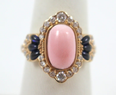 14K Rose Gold Conch Pearl Diamond & Sapphire Ring.    Size 6.5