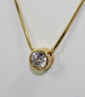 14K Yellow Gold 1.10ct Diamond Solitaire Pendant 20