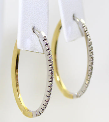 Two-Tone 10K Gold Diamond Hoop Earrings