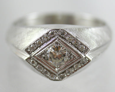 14K White Gold Men's Diamond Ring.