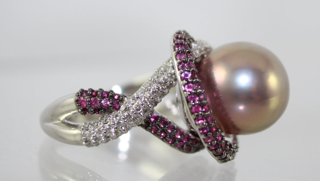 14K White Gold Ring: One South Sea Cultured Pearl with Pink Sapphires and Diamonds