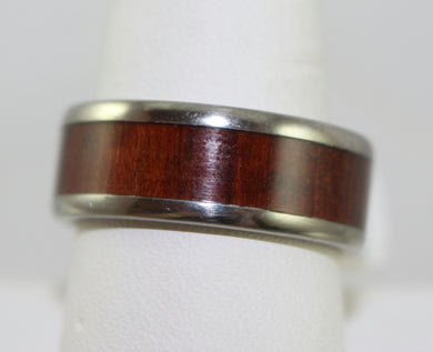 Men's Hawaiian Titanium Snake Wood Inlay Band Ring