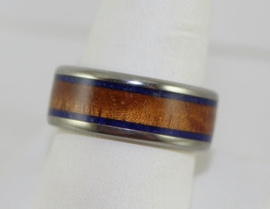 Men's Hawaiian Titanium Tiger KOA Wood & Lapis Inlay Band Ring