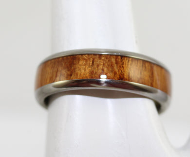 Men's Hawaiian Titanium KOA Wood Inlay Band Ring