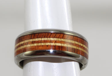 Men's Hawaiian Titanium Tiger KOA w/PAU Amarello Stripes Band Ring