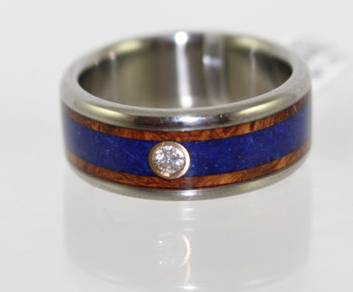 Hawaiian Titanium Ambonia Wood & Lapis w/2.6mm Diamond Wedding Ring