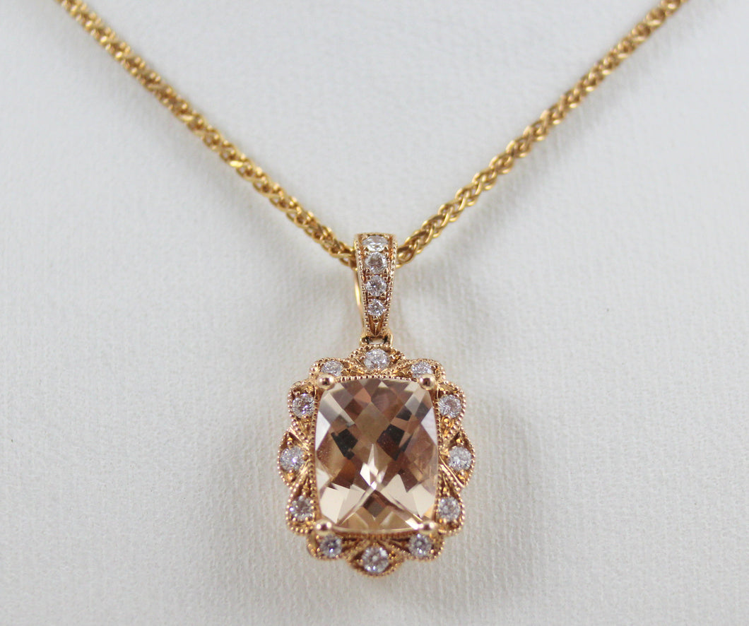 Stanton Color 14K Rose Gold Checkerboard Morganite & Diamond Halo Pendant on 18
