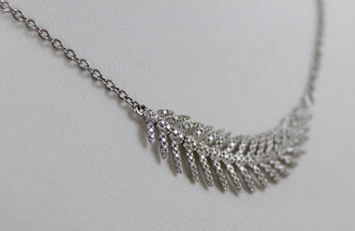 18K White Gold Diamond Feather 16