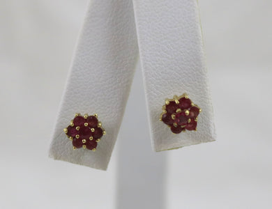 Lady's Yellow Gold 18 Karat Earrings with approx. 14=0.50Tw Round Rubies.