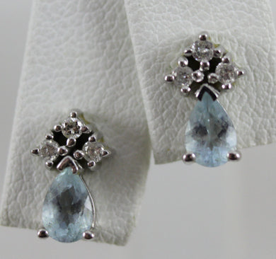 14K White Gold Diamond and Aqua Earrings