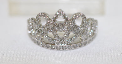 14K White Gold 1.00CT Diamond Tiara Ring