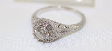 14K White Gold European Cut Diamond Ring